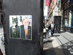 Graffiti Poster Batman and Trump Breathing Special Air 0758 (Brechtbug) Tags: graffiti poster batman trump breathing special air 2018 broadway midtown manhattan nyc 04292018 new york city