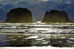 Twin Rocks (thomasgorman1) Tags: beach ocean shore rocks formations coast nikon sunset tide sand reflection nature scenic view cloudy clouds seascape