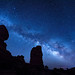 The Milky Way over Balanced Rock sandstone rock formation with the bright star Sirius on the right at Arches National Park, Moab, Utah