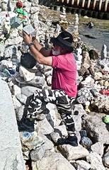 Creating rock sculptures at the Tagus River border - Pedro Baptista (1951) (pedrosimoes7) Tags: sculptures esculturas rocksculptures esculturasdepedra pedras riotejo tagusriver lisbon portugal terreirodopaço pedrobaptista