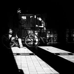 Station (Dilanou) Tags: railwaystation station shadow street shade schwarz silhouette sw story biker people blackandwhite blackwhite black light bicycle