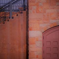at the station (msdonnalee) Tags: stairs stairway escalier escala escalera escada wall door caltrainstation sancarlos