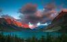 St. Mary Lake. Glaciar National Park. MontanaFire In The Sky! (agomezcor) Tags: america clouds cloudscape dawn glaciernationalpark montana mountainridge sky stmarylake sunrise unitedstates us usa west wildgooseisland