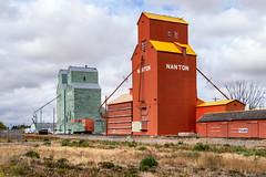 Grain elevators of Nanton, Alberta [Explored] (WherezJeff) Tags: alberta canada nanton afternoon attraction grainelevator mostlycloudy prairie cribannex d810 orange green pioneer albertawheatpool wooden