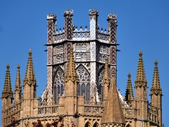 Octagonal glazed timber lantern, 14thC - central tower, Ely Cathedral, Ely, Cambridgeshire, England. (edk7) Tags: olympusomdem5 edk7 2018 uk england cambridgeshire ely elycathedral cathedralchurchoftheholyandundividedtrinity 14thcoctagonalglazedtimberlantern octagonalcentralcrossingtower architecture building oldstructure church sculpture carving stonecarving stonework pinnacle gradeilisted medieval sky tower window