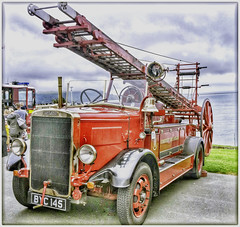 Bygone. (wilstony1) Tags: firebrigade fireengine ladder red vehicle classic vintage snapseed panasoniclumixgx7
