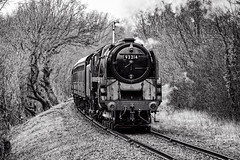 Climbing the bank (Peter Leigh50) Tags: great central railway gcr blackandwhite bw mono monochrome train railroad rail track steam 9f 92214 br trees fuji xt10 fujifilm