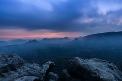Blue mountains (derliebewolf) Tags: gleitmannshorn bluehour longexposure sunrise nature landscape spring clouds movingclouds stormy saxonswitzerland germany blue mountains flickrfriday dream