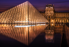 Louvre Square in Paris France During Colorful Sunset (Bart Ros) Tags: louvre paris france building old sky lights pyramid water reflection