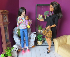 4. Getting instructions (Foxy Belle) Tags: doll barbie baby ooak repaint diorama 16 scale modern 2018 dolls child sew handmade chair living room scrapbook paper purple white pin cushion feed bottle mother mom curvy head swap fashionistas asian babysitter craft diy redressed knit avon talk town flocked poodle black leash babysitters inc skipper
