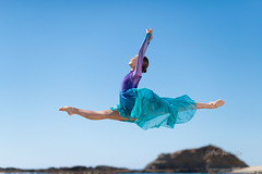 Juliet Doherty (Sharkcookie) Tags: dancer ballet beach ocean jump leap ballerina