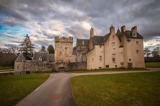 take the road to Drum Castle under dramatic spring skies. Fine art colour, Aberdeenshire, Scotland