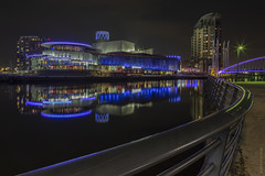 L. S. Lowry (andyrousephotography) Tags: salfordquays lowrytheatre lslowry manchestershipcanal canal nightshoot reflections lights colours longexposure 20dixons leefilters 06medndgrad batterthequays