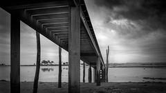 Ponton Cap-Ferret (France) (jean-marcvalette) Tags: passerelle pont «blackandwhite» monochrome ponton paysage