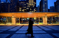 Apple Store at Night 2, Chicago, 2018 (jeffery c johnson) Tags: applestore chicagoarchitecture fosterandpartners normanfoster people night