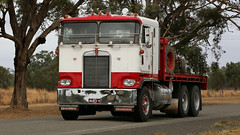 Crawlin' KENWORTHs (3) (Jungle Jack Movements (ferroequinologist)) Tags: kenworth crawling crawlin hume highway freeway melbourne albury winton chiltern wangaratta vic victoria brake wheel exhaust loud rumble beast hood hp horsepower gear oil haul haulage freight cabover trucker drive transport carry delivery bulk lorry hgv wagon road nose semi trailer deliver cargo interstate articulated vehicle load freighter move roll motor engine power grunt teamster truck tractor prime mover diesel driver cab cabin fast festival show convoy