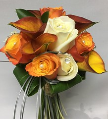 Autumnal (Flowers by Moonstones - Fareham Florist) Tags: cream roses eucalyptus wedding flowers moonstones florist fareham calla lily lillies mango pearls orange gold