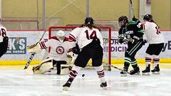 Rebound! (R.A. Killmer) Tags: sru black green acha ice hockey lemieux sports center pittsburgh slippery rock university shot rebound stick puck