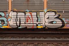 MOHS (TheGraffitiHunters) Tags: graffiti graff spray paint street art colorful freight train tracks benching benched autoracks racks mohs