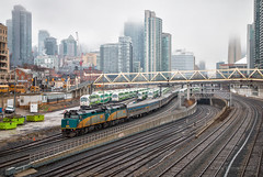 Fashionably Late (Wheelnrail) Tags: via rail canadian passenger train toronto 6ix locomotive emd f40ph late skyline spring rain clouds bathurst street union station go transit canada