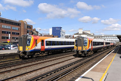 444-004 & 444-035 Eastleigh 05/04/18 (Woolwinder) Tags: ukclass444 444004 444035 southwesttrains eastleigh hampshire england lswr southernrailway southwesternrailway
