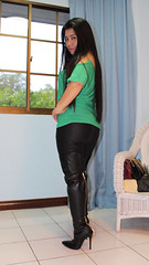 Golden Zip (johnerly03) Tags: erly philippines filipina asian fashion high heel thigh length boots rear zip long hair shiny