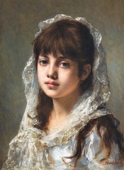 Portrait of a Young Girl Wearing a White Veil (Animus Mirabilis) Tags: russian painting art alexejharlamoff portrait young girl white veil lace