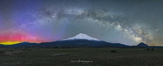 Northern Lights & Milky Way over Mount Shasta...