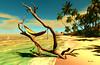 Summertime (Milla DelRay) Tags: hammock trees sl secondlife nature water sea beach palm palms sand waves wave foam summer sun shadow shadows