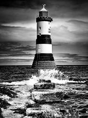 (michaeljoakes) Tags: lighthouse mono sea blackandwhite wales penmon canonpowershotsx60hs canon anglesey blackpoint