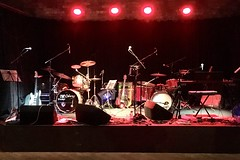 The stage is set (Dave_S.) Tags: grateful dudes dead stage music psychedelic country rock england gb uk drums guitars keyboards mics microphones yorkshire concert gig performance show instruments bass guitar drummer kit electric lights pa