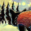 Night Bunnies (Tom Bagley) Tags: batlord frenchie bunnies night trees snow wasteland creepy eerie weird tombagley calgary alberta canada neverendingwinter redsweater spikes moon