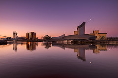 An Imperial Dawn (Tracey Whitefoot) Tags: 2018 tracey whitefoot salford quays manchester sunrise dawn twilight warm pink pastel tones iwm imperial war museum north reflection reflections calm serene still architecture