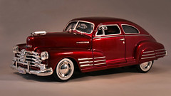 1948 Chevy Fleetline Fastback (☁☂It's Raining, It's Pouring☂☁) Tags: car diecast chevyfleetlinefastback toy maroon red silver chrome sleek theflickrlounge wk14 metallic lightbox model realistic wellmade saturdaytheme