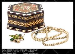 Vintage jewel box (__Viledevil__) Tags: jewel box case jewelry nacre necklace old pearls pin vintage wood jewelbox jewelcase jewelrybox
