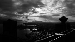 Eastward rooftop view in Vancouver, black and white (bastinaaron) Tags: vancity vancouver blackandwhite sunrise underexposed