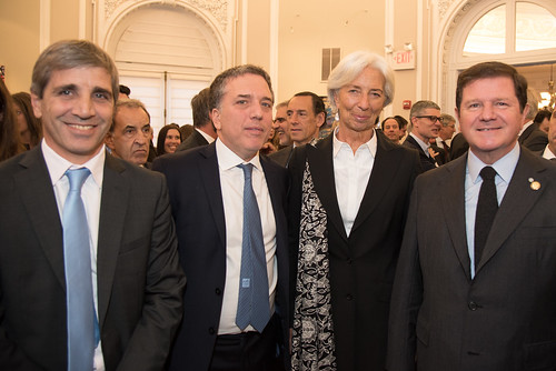 Political and economic leaders attend a G20 reception at the Argentine embassy in Washington