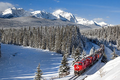 CP 8960 at Storm Mountain (Matthew Hicks Railway Photography) Tags: cp cpr canadianpacific canadianpacificrailway banff banffpark banffnationalpark lakelouise train winter es44ac gevo mountains forest railway