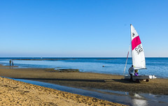 After the sail (Marian Pollock) Tags: australia melbourne victoria portphillipbay ocean sunny sky water sand sailing boat reflection people shallows coastline dog still sailboat sandbanks coast sunlight