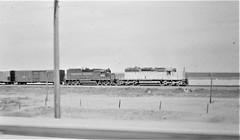 Union Pacific and Western Pacific locomotives on a freight train in Wyoming in 1976 4689 (Tangled Bank) Tags: train railway railroad north american old classi heritage vintage classic equipment stock wp overland route union pacific western locomotives freight wyoming 1976 4689 up