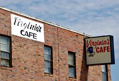 Eat At Virginia's (pam's pics-) Tags: ne nebraska us usa america statecapital lincolnnebraska sign signage cafe food restaurant diner vintagesign pamspics pammorris virginiascafe cornhuskerhighway sonya6000 breakfast lunch plasticsign ad advertising coffeecup brick redbrick