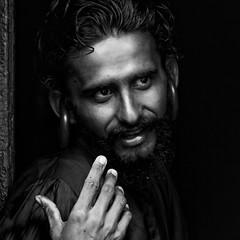 0735 Portrait Of Monk (Hrvoje Simich - gaZZda) Tags: monk man beard eyes monochrome blackwhite hand face nikon nikond750 nikkor283003556 kathmandu nepal asia gazzda hrvojesimich