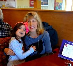 Violet and Me at Baker's Square (Lynn English) Tags: violet lynn piehouse ribbet