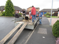 The ramp for loading with the post box trolley (kitmasterbloke) Tags: postbix royalmail gpo red pillar digger outdoor uk recovery
