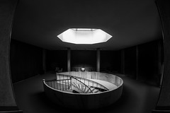 an island of light / please take a seat (Özgür Gürgey) Tags: 12mm 2018 archaeologymuseums bw d750 nikon samyang architecture chair fisheye grainy light stairs symmetry istanbul