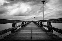 Juno Beach pier in Normandy (iz.e) Tags: france beach pier sea blackandwhite sky monochrome