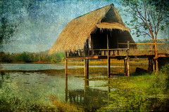 One of several huts of a Thai Fish Restaurant, a great place for having a delicious meal with family and friends. (ulli_p) Tags: asia art artofimages aworkofart awardtree artisticexpression buildings colours canoneoskissx5 colorful exoticimage flickraward isan lake lakescape nature ruralthailand reflection southeastasia thailand texture textured texturedphoto texure