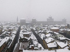 Snow Falling in Modena (Italy) - 2 [EXPLORED] (theSnoopyG - thanks for over 1/2 million views!) Tags: modena neve italy italia italian cityscape city snow snowing falling snowflakes nevicata storm winter cold white militaryacademy roof panorama panoramic