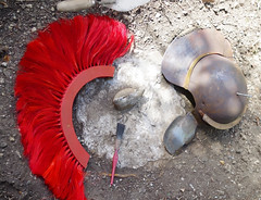 "HOME FENOVATIONS - ""I reckon it's a temple/villa/bath-house complex..."" (zero g) Tags: renovations homeimprovement archaeology dig site rome romanarmy helmet armour armor crest horsehaircrest red dirt concrete pipe"