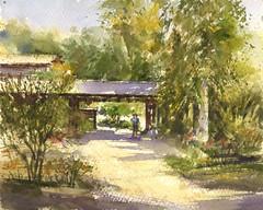 Descanso Gardens (Sherry Schmidt) Tags: art painting pleinair watercolor watercolour landscape trees pavilion lacanadaflintridge california city roses garden gardening